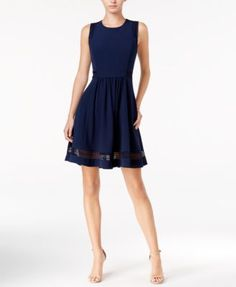 Maison Jules Illusion Lace Fit & Flare Dress, Only at Macy's | macys.com