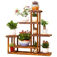 Wooden Plant Stand Flower Shelf Holder 5 Tier Pot Shelves Bonsai Display Storage Rack Outdoor Indoor Garden Patio for Multiple Plants Inches Plant Shelves, Wood Shelves, Garden Shelves, Corner Plant, Wood Display Stand, Do It Yourself Organization, Wooden Plant Stands, Outdoor Flowers, Bamboo Plants