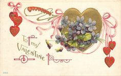 Valentine~Art Nouveau~Violets On Gold Heart~Pink Ribbons Connect Red Hearts~Emb Golden Heart, Heart Of Gold, Art Nouveau, Heart Illustration, Valentines Art, Holiday Postcards, Violet, Purple Flowers, Pink