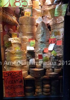 A cheese shop in Padova, Italy