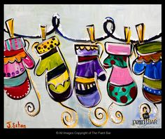 great pattern lesson for k and 1 Colorful Mittens Painting - each student could do a mitten (focus on line or colour, etc.) then pin them up for a cool bulletin board Christmas Canvas, Christmas Paintings, Christmas Art, Winter Art Projects, School Art Projects, 2nd Grade Art, Theme Noel, Art Classroom, Art Plastique
