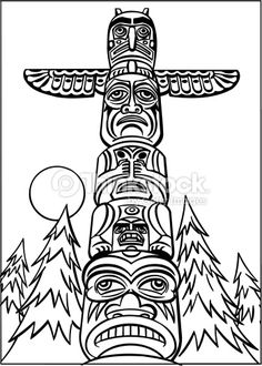 totem pole line drawings - Google Search More