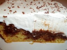 Fudge Poke Cake Recipe; from Cassie Long on Just a Pinch!