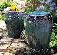 Peacock garden stool