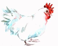 White Hen farm animals, original watercolor painting, 12 X 9 in