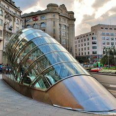 """Basque Country, Bizkaia, Bilbao, """"Fosterito"""", Underground's Entrance"""