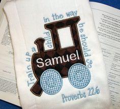 Monogrammed Faith Train Scripture Applique Burp Cloth by Blumers Embroidery