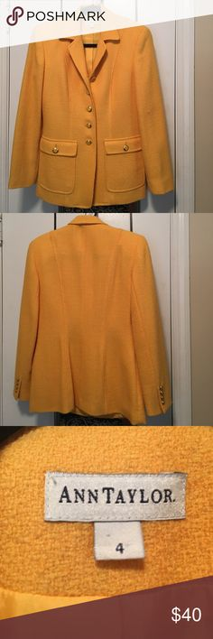 Ann Taylor yellow blazer Ann Taylor blazer; canary yellow; gold/yellow buttons; in excellent condition; size 4 (but could fit a 6 also). **Open to offers!** Ann Taylor Jackets & Coats Blazers