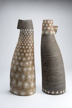 Petra Bittl Ceramics, Pair of Vessels, 2015, stoneware Clays, porcelain, salt