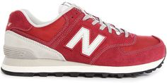 NEW BALANCE 574 Burgundy Suede and Nylon Sneakers