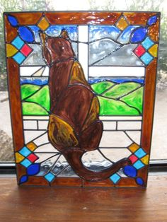 Cat in a window Stained glass window by ... | stained glass and mosai ...