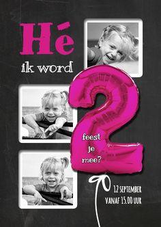 Hippe Uitnodiging 2 Roze Staand, verkrijgbaar bij #kaartje2go voor €0,99