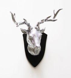 Faux Deer Head Deer Head Silver Deer Head Faux by hodihomedecor