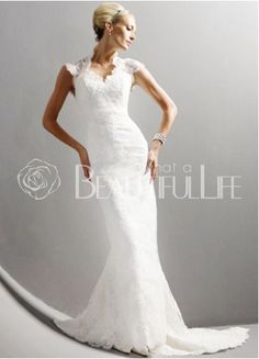 $294.99 Sheath/Column Halter Sweep Train Satin #Wedding #Dress With Embroidery