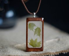 Wood green maple leaves flower necklace green dried flowers rustic eco jewelry pressed flowers herbarium jewelry wooden pendant epoxy gift by sincereworkshop on Etsy