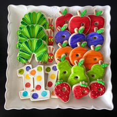 The Very Hungry Caterpillar decorated cookies