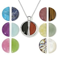 """hsn Sterling Silver 14 in 1 Interchangeable Pendant with 18"""" Chain #Pendant"""