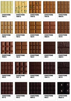 Choctone: Pantone-Inspired Chart of Chocolate | The Orange Co.  TLP loves chocolate, as any other women do. So here is the perfect inspiration board of chocolately colors.