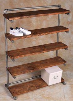 Easy diy pipe shelves ideas on a budget Diy Shoe Rack, Shoe Racks, Cheap Shoe Rack, Shoe Rack Pallet, Diy Shoe Shelf, Shoe Rack Models, Homemade Shoe Rack, Garage Shoe Rack, Rustic Shoe Rack