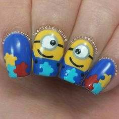 nailstorming minions autism awareness #nail #nails #nailart