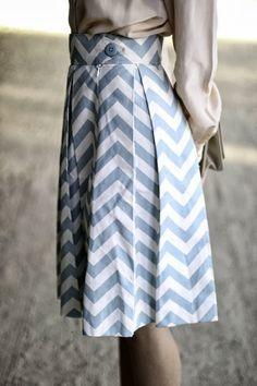 Blue and White Chevron Skirt