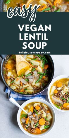 This Vegan Lentil Soup is loaded with hearty vegetables and flavored with garlic and thyme. It's the perfect meal for a chilly fall or winter evening. Autumn Recipes Vegetarian, Vegetarian Soup, Vegan Dinner Recipes, Vegan Dinners, Fall Recipes, Vegan Lentil Soup, Easy Vegan Dinner, Vegan Comfort Food, Lentils