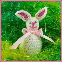Funny Bunny Easter Egg Cozy  Designed by Julie A. Bolduc    This Easter Egg Cozy is made for Duck Sized plastic eggs that you fill with goodies for Easter. It is fast and easy to make and you could make a few in an evening!