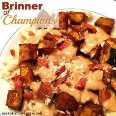 Brinner of Champions - eggs, bacon, peanut butter and kabocha! #strangebutgood #breakfast