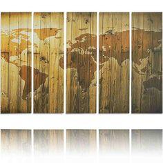 Feeby Frames, Quadro multipannello di 5 pannelli, Quadro su tela, Stampa artistica, Canvas (MAPPA DEL MONDO,) 140x300 cm, Tipo C: Amazon.it: Casa e cucina