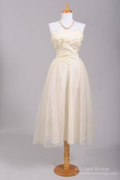 1950 Embroidered Sequin Vintage Wedding Dress $695