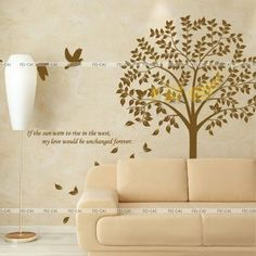 Free shipping! Super large sofa wall stickers entranceway kitchen stickers bodhi tree flower $58.69