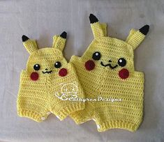 Ravelry: Baby Pokemon Pikachu overalls by Cathy Ren