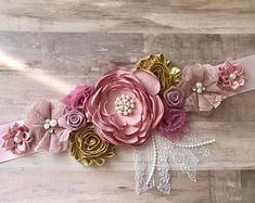 Pink Mauve and Gold Flower Sash Maternity Flower Girl Baby Shower Dress Accessory Photo Prop, Keepsake