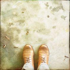 New shoe day - handmade in Portugal  Random street sidewalk Morgan Hill, Califórnia