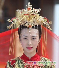 Chinese Wedding Headdress Set rental set traditional buy purchase on sale shop supplies supply sets equipemnt equipments Traditional Wedding, Traditional Dresses, Geisha, Wedding Headdress, We Are The World, Chinese Culture, Hair Ornaments, Hanfu, Mellow Yellow