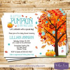 Little Pumpkin Baby Shower Invitation by WillowLaneStationery