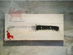 Deko-Objekte - messer - ein Designerstück von superbunt bei DaWanda Bunt, Etsy, Atelier, Christmas Jewelry, Objects, Knives, Sticker, Rustic, Deco