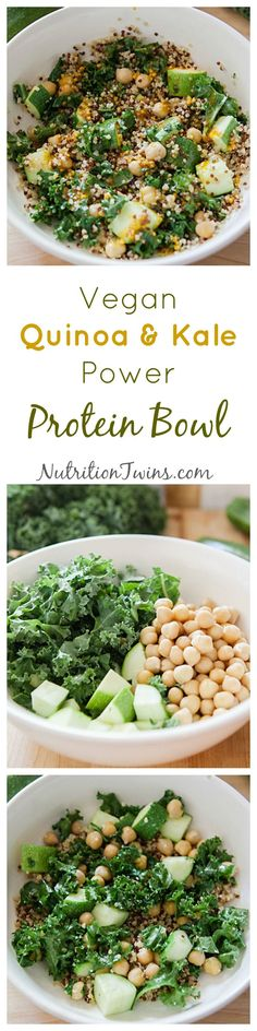 Vegan Quinoa Kale Power Protein Bowl Only 94 Calories Healthy way to get satisfying carbs Make ahead and spice flavors get even better For MORE RECIPES fitness nutri. Diet Recipes, Vegetarian Recipes, Healthy Recipes, Vegetarian Cooking, Cooking Recipes, Vegetarian Dinners, Protein Recipes, Healthy Meals, Recipies
