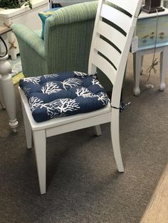 Barnett Products Dining Chair Pad with Ties - Coastal Seahorse Navy Batik Print - Standard - Reversible, Tufted, Latex Foam Fill - Made in USA Ladder Back Dining Chairs, Dining Chair Cushions, Batik Prints, Kitchen Chairs, Very Well, Washer, Latex, Accent Chairs, House Ideas