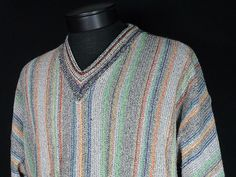 Raffi Colorful Cosby Sweater Mens Large Made in Italy Cotton Blend Looks Great  #Raffi #VNeck