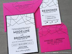 Fragment Modern Lines Wedding Invitation Sample | Flat or Pocket Fold Style by ImpressInk on Etsy