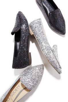 Sparkly glitter loafers for the holidays. Looks great styled with denim or party dresses!