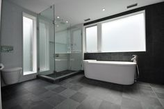 Bath grey tile floors Design Ideas, Pictures, Remodel and Decor