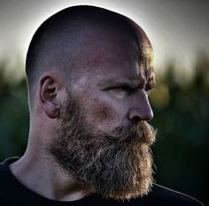 Bald Men With Beards, Bald With Beard, Great Beards, Long Beards, Badass Beard, Epic Beard, Beard Styles For Men, Hair And Beard Styles, Very Short Hair Men