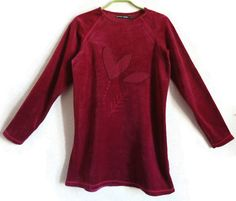 GUDRUN SJODEN Velvet Tunic Burgundy Clothing Cotton Tunic Heart Embroidered Tunic S Size Clothing Vintage Velvet Tunic Long Sleeve by Vintageby2sisters on Etsy