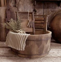Vintage washtub and washboards