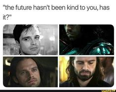 """the future hasn't been kind to you, has it? Marvel Fan, Marvel Avengers, Marvel Comics, Marvel Gems, Avengers Movies, Marvel Heroes, Sebastian Stan, Winter Soldier Bucky, Marvel Jokes"