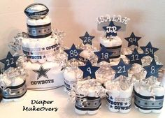 Dallas Cowboy Diaper Cake COMBO by DiaperMakeOvers on Etsy