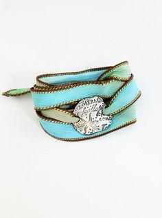 Under the Sea Bracelet Silk Ribbon Wrap by BlueSailStudios1, $72.00