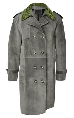 Suede Double Breasted Coat With Raw Hide Hem And Astrakhan Collar by Alexander Wang for Preorder on Moda Operandi